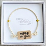 Mom, Philippians 1:3, Gold Bangle Bracelet