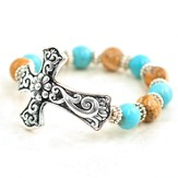 Filigree Cross Stretch Bracelet, with Turquoise and Brown Beads
