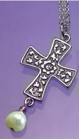 Renaissance Cross, Sterling Silver Necklace With Pearl