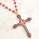 Fuchsia Beaded Necklace with Cross