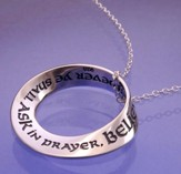 Ask in Prayer Sterling Silver Mobius Necklace (Matt. 21:22)