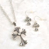 Filigree Cross Antique Necklace and Earrings Set