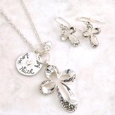 Fancy Cross Scroll Necklace and Earrings Set, Faith, Hope, Love