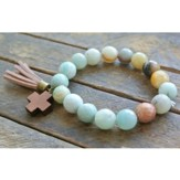 Turquoise Beaded Bracelet with Wooden Cross