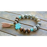 Wooden and Spotted Beaded Bracelet with Turquoise Cross