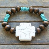 Wooden and Turquoise Beaded Bracelet with Bone Cross