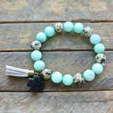 Turquoise and Spotted Beaded Bracelet with Black Cross