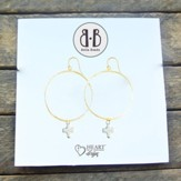 Bone Stone Cross Hoop Earrings