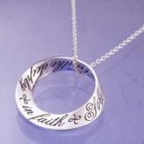 Breathe Deeply In Faith, Sterling Silver Mobius Pendant