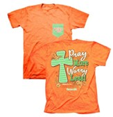 Pray More Worry Less Shirt, Coral,   Large