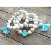 Ivory Beaded Bracelet with Turquoise Cross and Turquoise Tassels
