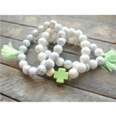 Ivory Beaded Bracelet with Lime Green Cross and Lime Green Tassels