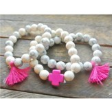 Ivory Beaded Bracelet with Hot Pink Cross and Hot Pink Tassels