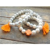 Ivory Beaded Bracelet with Orange Cross and Orange Tassels