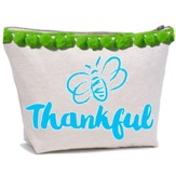 Bee Thankful Canvas Everything Bag with Pom Poms