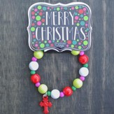 Kids Christmas Bracelet, Beaded, Red Cross