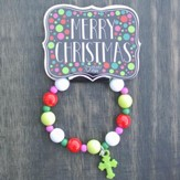 Kids Christmas Bracelet, Beaded, Green Cross