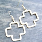 Open Cross Earrings, White