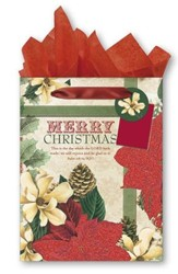 Merry Christmas, Poinsettia and Pine Cones Gift bag, Medium