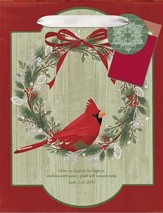 Merry Christmas, Cardinal Gift bag, Medium