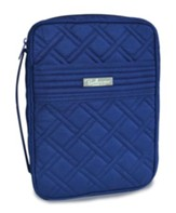 Quilted Bible Cover, Navy, Large