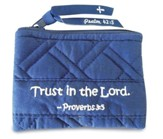 Trust In the Lord, Quilted Coin Purse, Navy