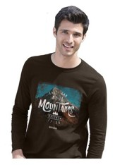 Mountains, Long Sleeve Shirt, Brown, Medium