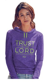 Trust In the Lord, Hooded Long Sleeve Shirt, Purple, Medium