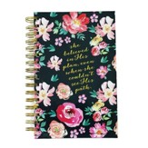 Spiral Bound Journal, Black/Floral