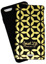 Speak Life iPhone 6+ Case, Black & Gold