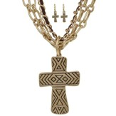 Multi Strand Cross Pendant Necklace and Earring Set