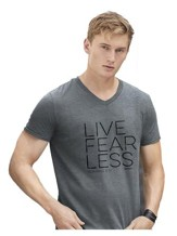 Live Fear Less Shirt, Gray, Small