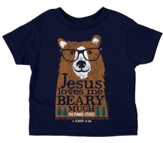 Jesus Loves Me Beary Much Shirt, Navy, 4T