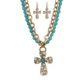 Double Strand Turquoise Beaded Cross Necklace and Earring Set