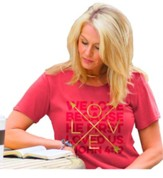 We Love Because He First Loved Us, Ladies Shirt, Coral, Medium