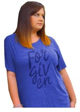 Forgiven, Ladies Shirt, Blue, X-Large