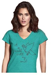 It Is Well With My Soul, Ladies Shirt, Heather Green,  Large