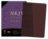 NKJV Study Bible, Bonded Leather, Burgundy with CD-Rom - Slightly Imperfect