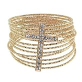 Goldtone Fancy Wire Cross Bracelet