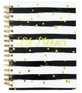 Cherie Spiral Bound Life Planner, Black and White Stripes