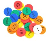 Singapore Math Place Value Disks (140 Disks, 20 for each of 7 values)