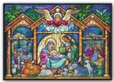 Stained Glass Nativity, Christmas Cards, Box of 15