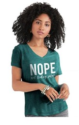 Nope Not Today Satan Shirt, Teal Heather,   Medium