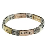 I Am Blessed, Stretch Cross Bracelet, Tri-toned