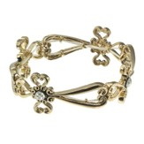 Large Stretch Cross Bracelet, Gold with Crystal Accents