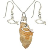 Fish Necklace & Earrings Set, Sterling Silver, 18 Inch Chain, 1-1.5 Inch Stone Size