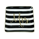 Mrs. Ceramic Tray, Black and White Stripes