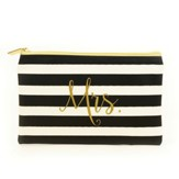 Mrs. Zipper Pouch, Black and White Stripes