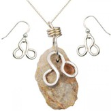 Pillars Necklace & Earrings Set, Sterling Silver, 18 Inch Chain, 1-1.5 Inch Stone Size