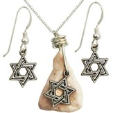 Shield Of David Necklace & Earrings Set, Sterling Silver, 18 Inch Chain, 1-1.5 Inch Stone Size